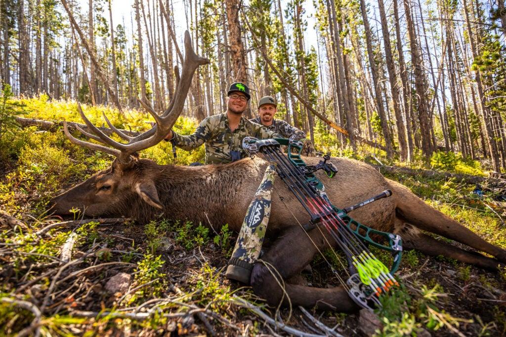 J.C. Navarro and buddy Royle Scrogham with bull elk