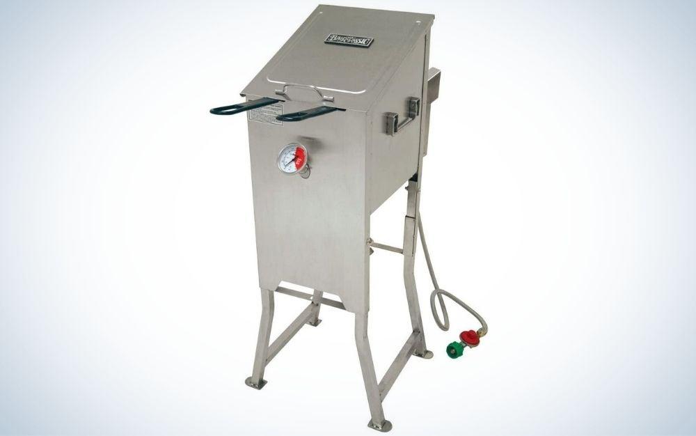 Stainless steel, silver outdoor deep fryer