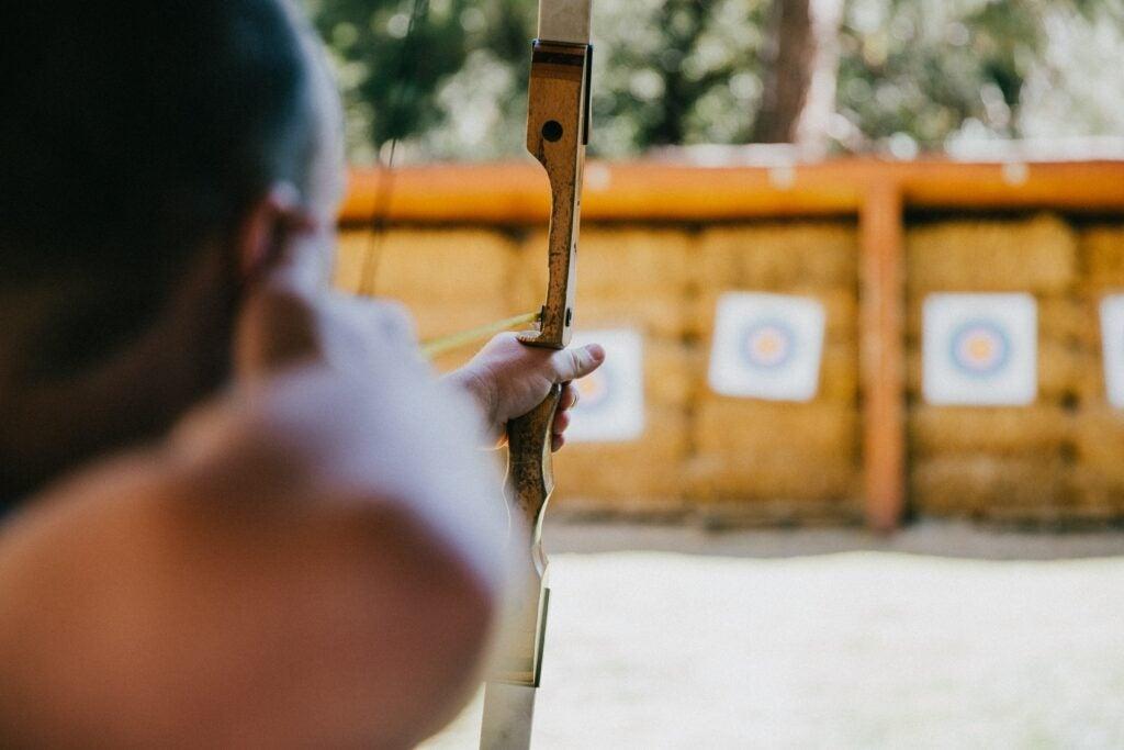person shooting at target
