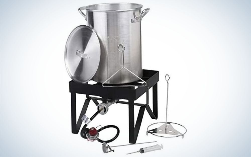 Deluxe aluminum, outdoor deep fryer kit