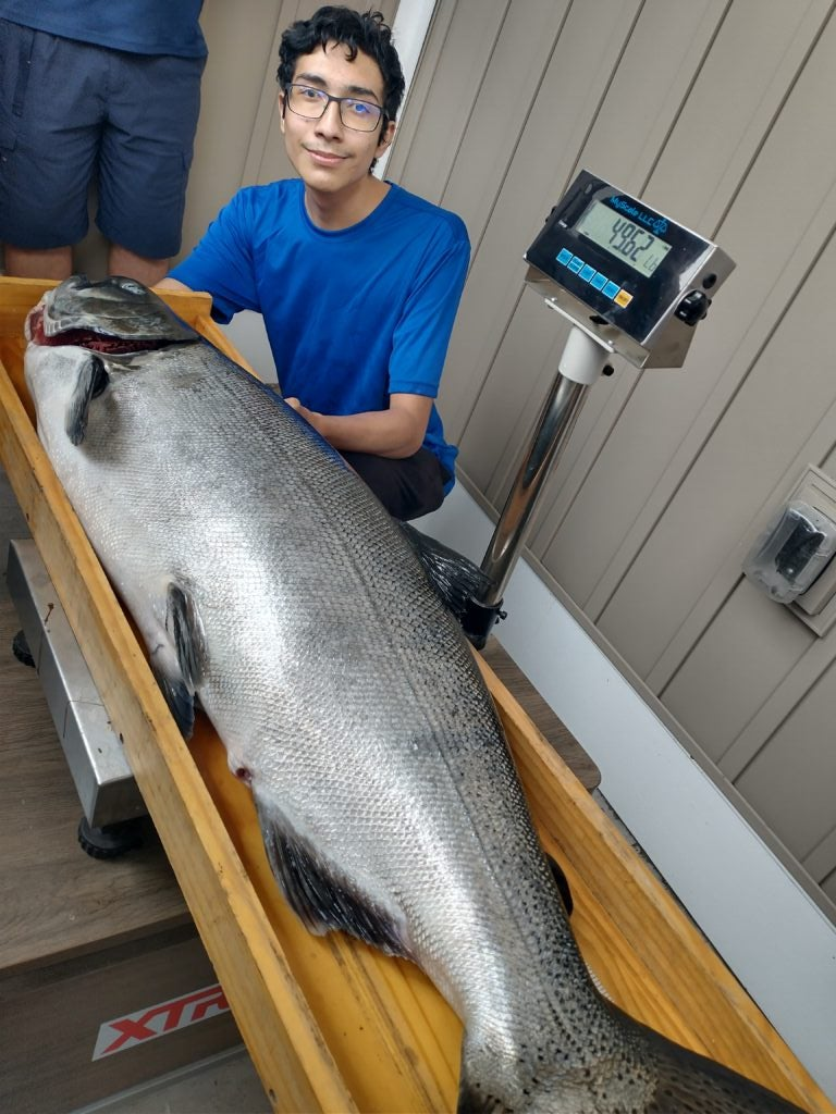 Teen's First Salmon Ever Is Michigan's New State Record Chinook, at 47.86 Pounds