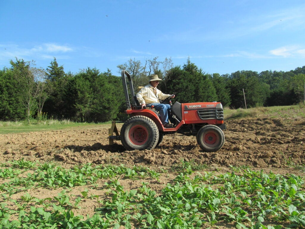 Man on a tractor in a food plot.