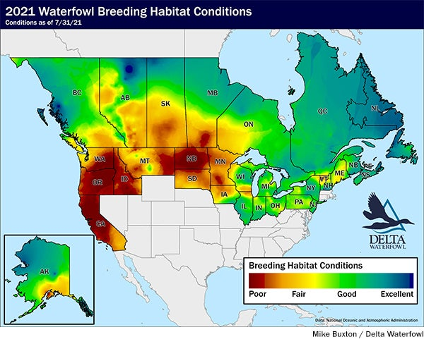 Map showing poor waterfowl breeding conditions in the Midwest and West Coast