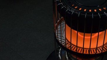 Black kerosene heater turned on