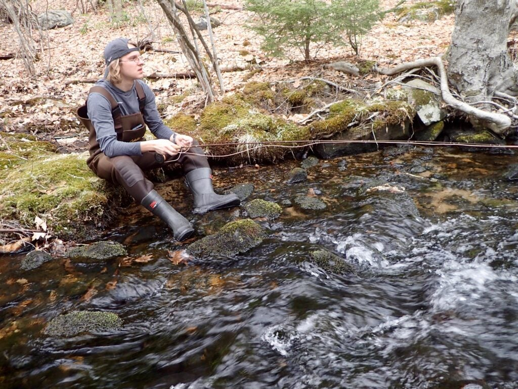 A man fishing a small stream for trout
