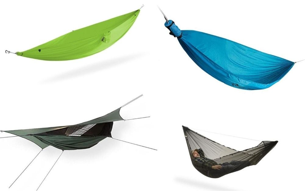 Four different camping hammocks