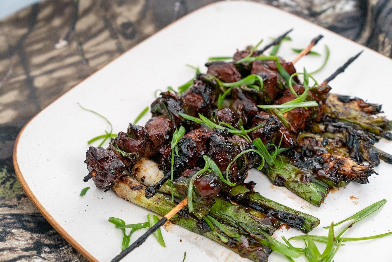 Small game organ meat yakitori.