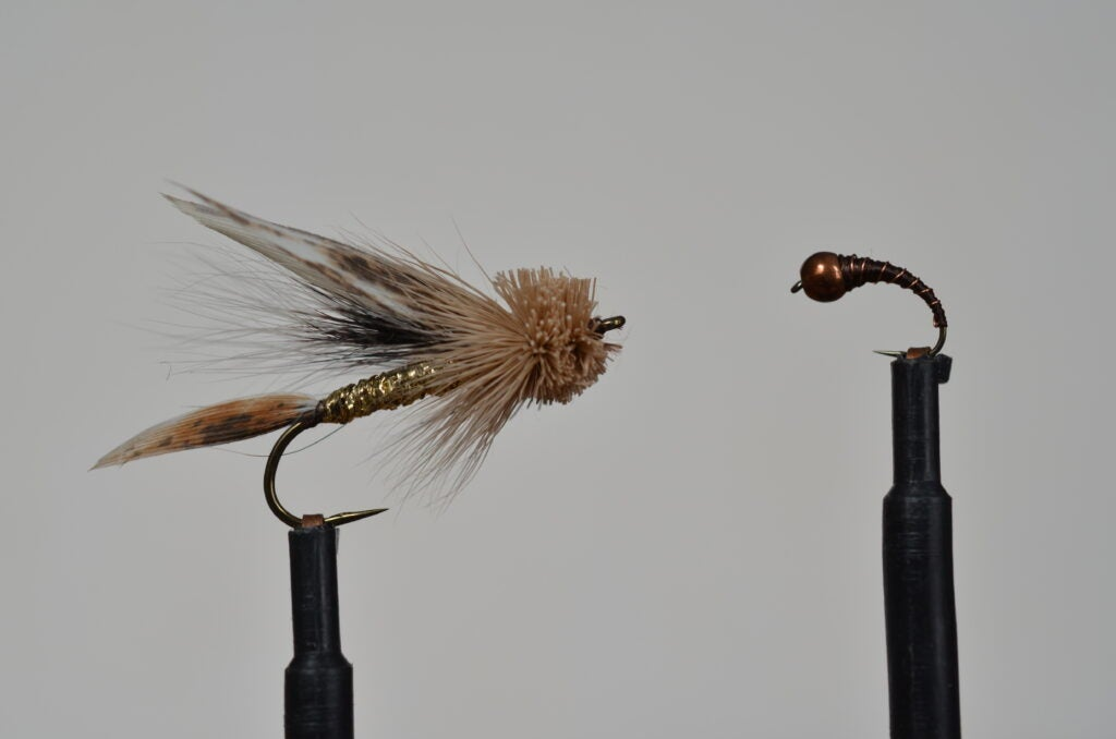 Muddler Minnow and Perdigon trout flies