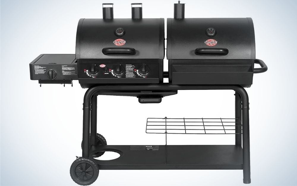 A black dual grill and both black together with two movable legs and two stable holders.