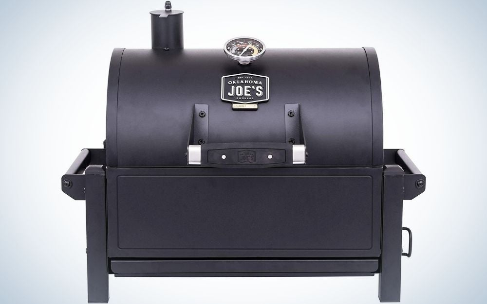 A portable black grill with lid from above and four stable legs from below.