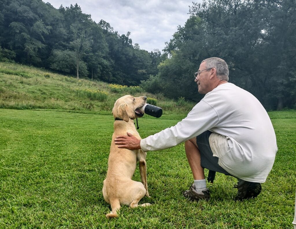 Dog trainer with young retriever