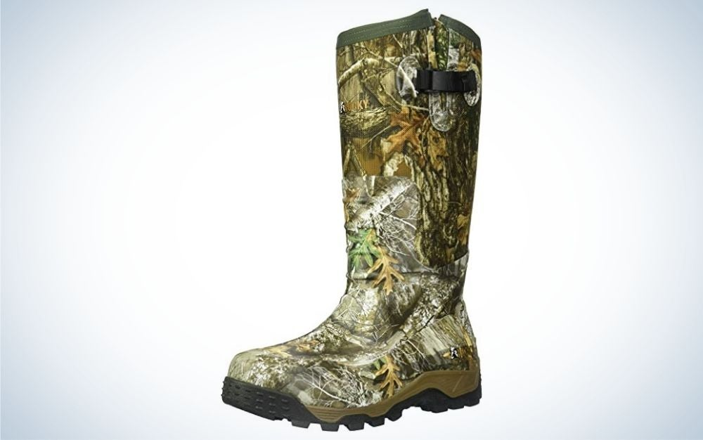 Realtree edge, knee high rubber hunting boot