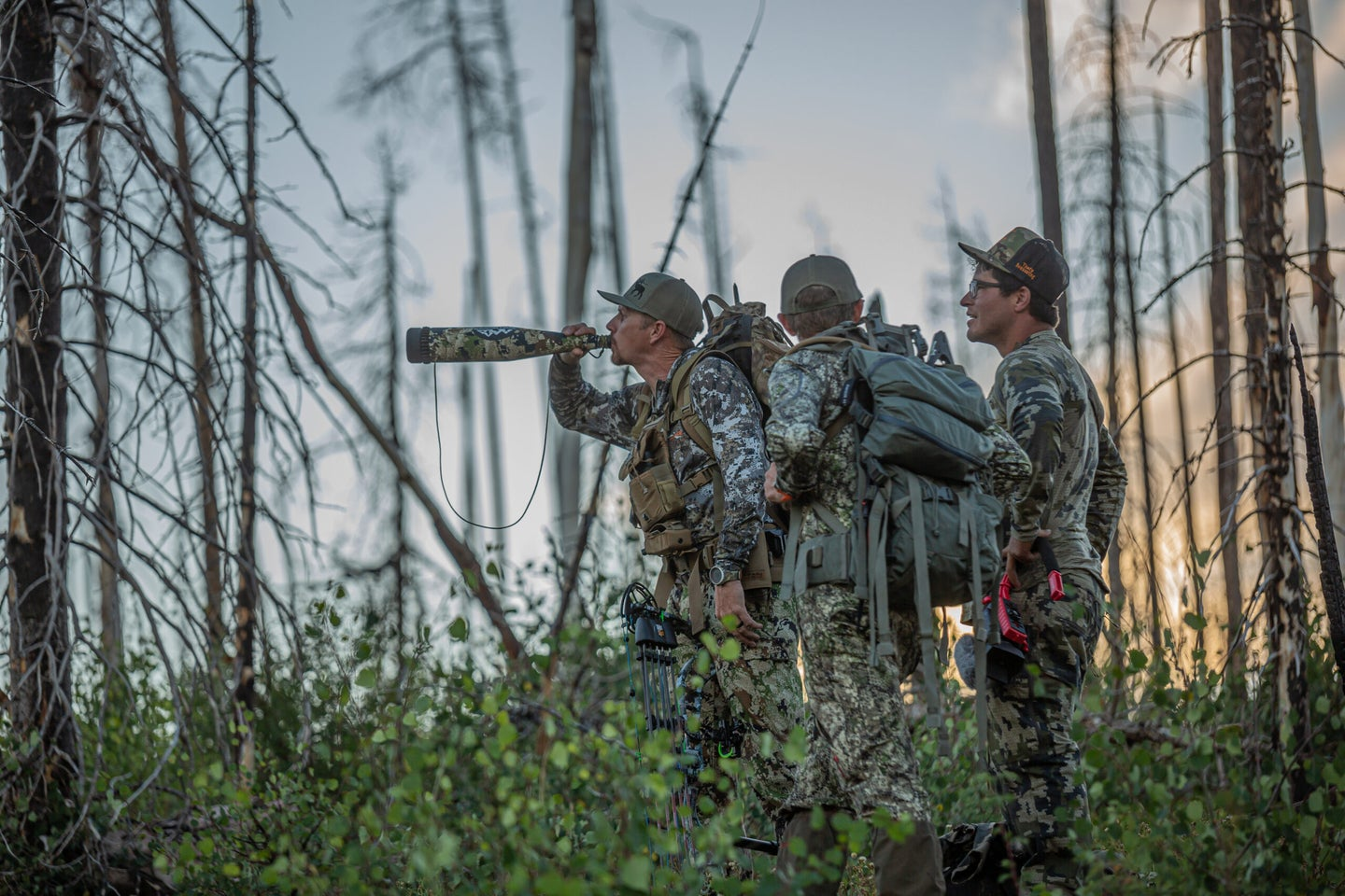 Elk hunters in the woods making a locator call.