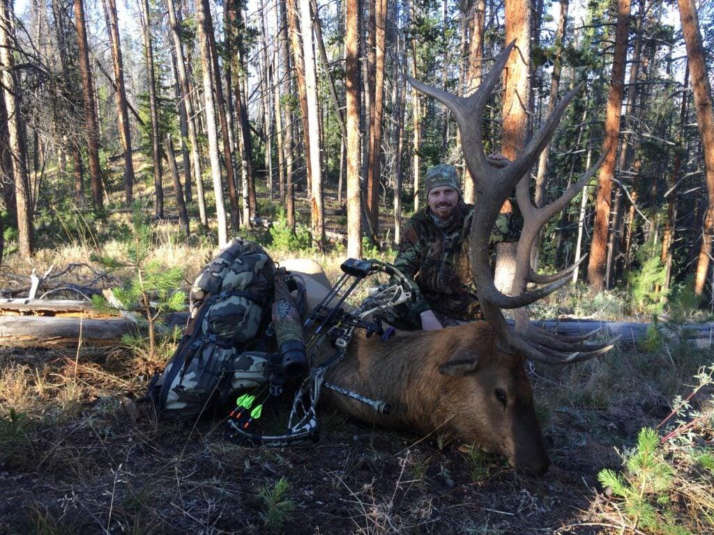 An elk hunter posing with a dead bull elk.