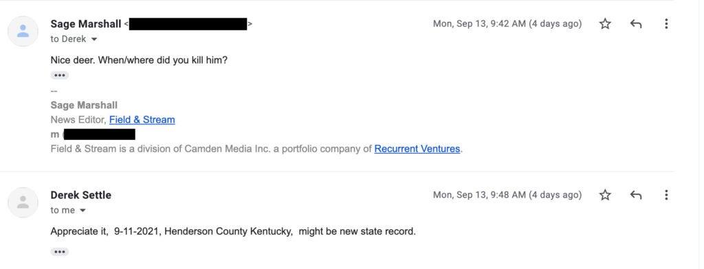 screenshot of email.