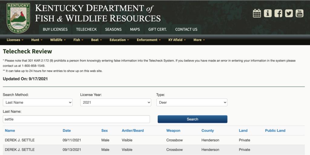 Kentucky telecheck screen shot.