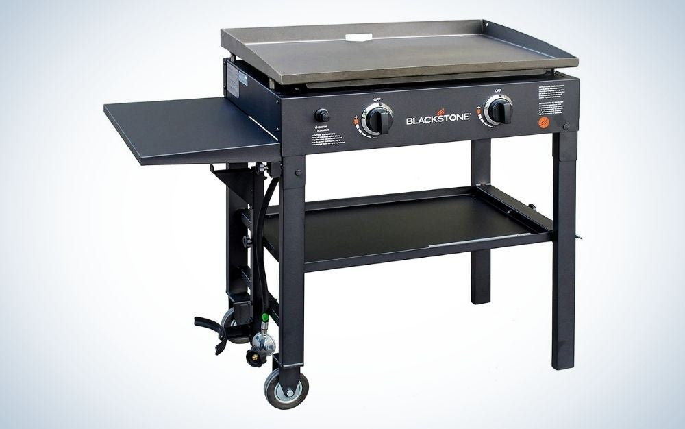 Blackstone 28-inch outdoor flat top gas grill griddle station is the best camping griddle with stand.