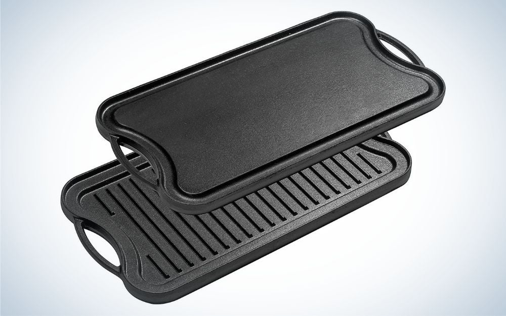 Bruntmor pre-seasoned cast iron reversible grill/griddle pan is the best camping griddle.
