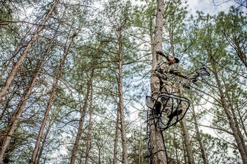 Bowhunter shooting from a treestand