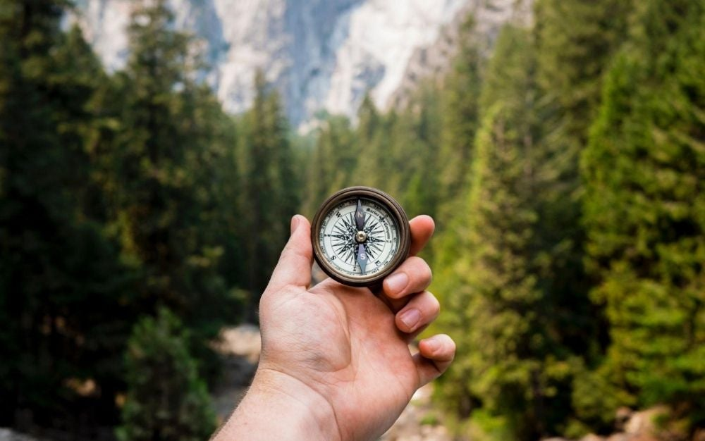 Person holding a compass.