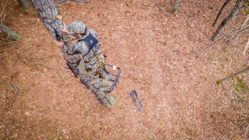 Deer hunter setting up a treestand.