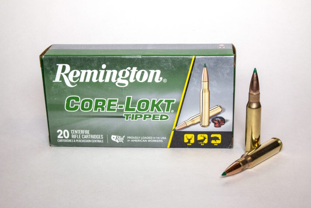 Box of Remington Core-Lokt Tipped with two cartridges.