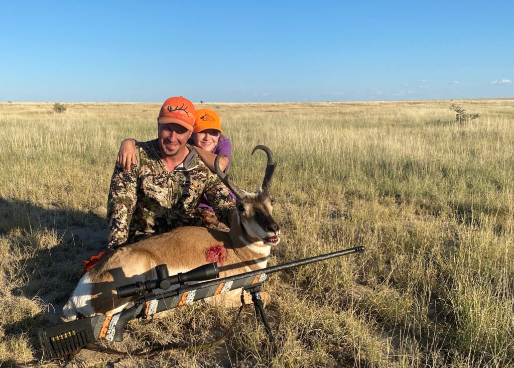 Grafton Singer and his daughter McKenzie with pronghorn buck
