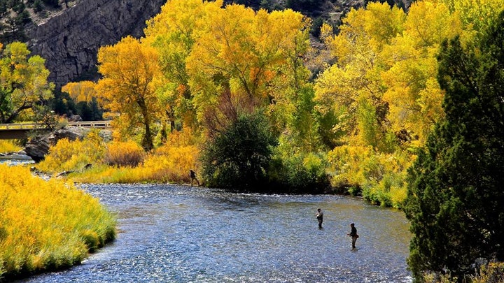 Anglers fishing in a stream in the fall.